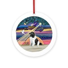 Xmas Star & Landseer Newfie Ornament (Round)