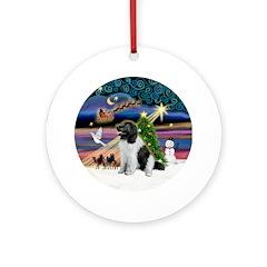 Xmas Magic & Landseer Newfie Ornament (Round)