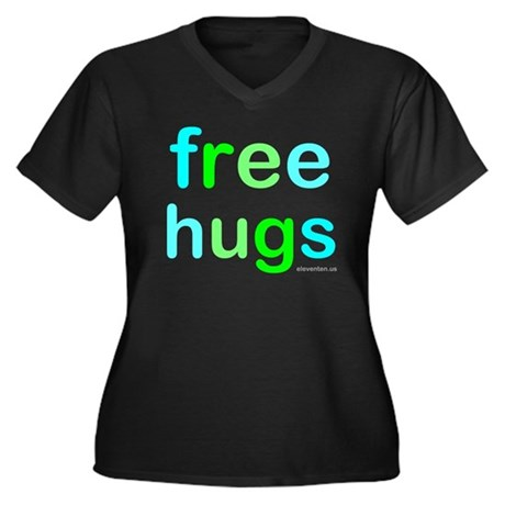 neon free hugs Women's Plus Size VNeck Dark TShirt