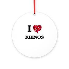 I love Rhinos Round Ornament