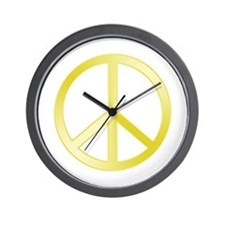 """Gold"" Peace Symbol Wall Clock"