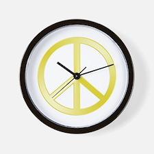 """""""Gold"""" Peace Symbol Wall Clock"""