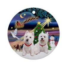 Xmas Magic with 2 Westies Ornament (Round)