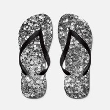 Black And White Sequence Glitter And Sp Flip Flops