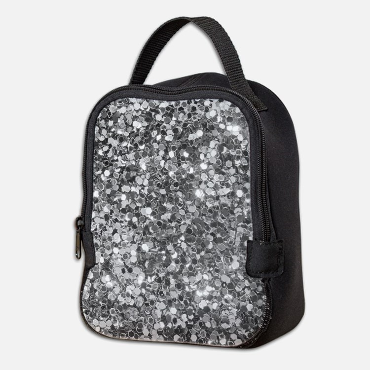Black And White Sequence Glitte Neoprene Lunch Bag