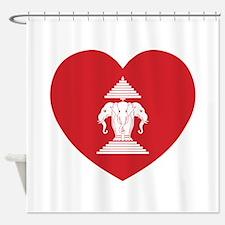 Laotian Erawan 3 Headed Elephant Heart Flag Shower