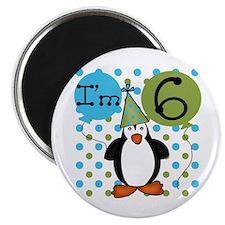 Penguin 6th Birthday Magnet