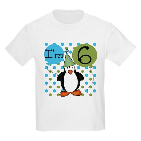 Penguin 6th Birthday Kids Light T-Shirt