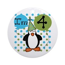 Penguin 4th Birthday Ornament (Round)