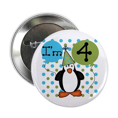 Penguin 4th Birthday Button