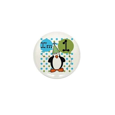 Penguin 1st Birthday Mini Button