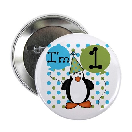 Penguin 1st Birthday Button