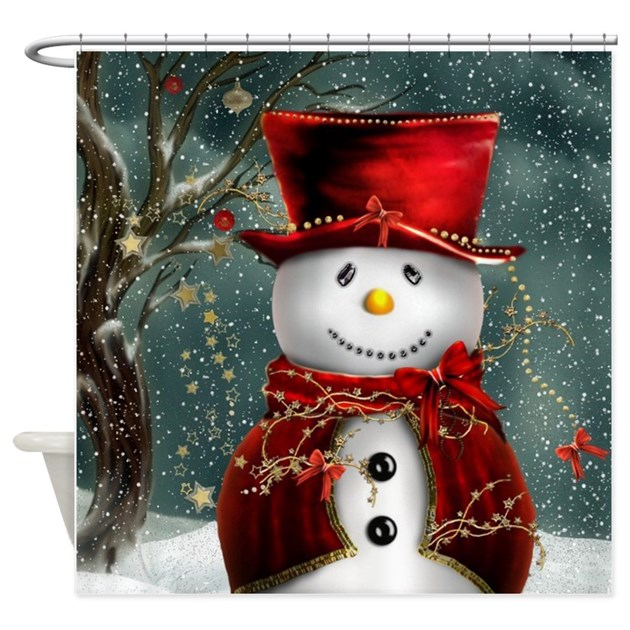 Christmas Snowman Shower Curtain By Simpleshopping
