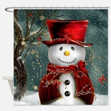Christmas Snowman Shower Curtain