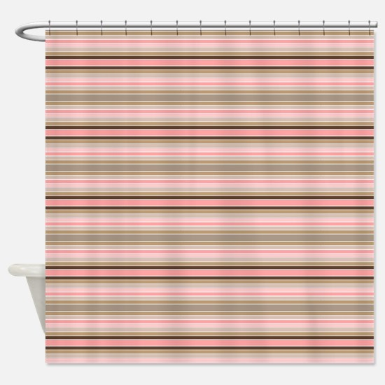 Pink and beige stripes Shower Curtain