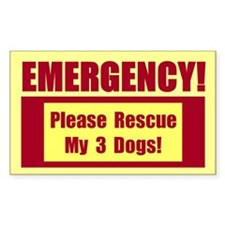 Rescue My 3 Dogs - Emergency Door/Window Sticker B