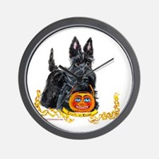 Halloween Scottish Terrier Wall Clock
