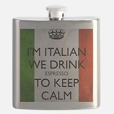 We Drink Espresso to Keep Calm Flask