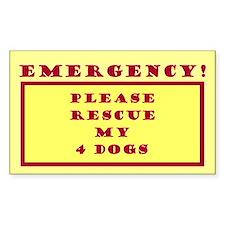 Rescue My 4 Dogs - Emergency Door/Window Decal