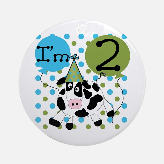Cow 2nd Birthday Ornament (Round)