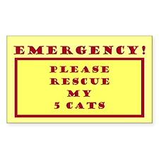 Rescue My 5 Cats - Emergency Door/Window Decal