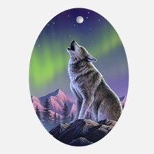 Howling Wolf 2 Oval Ornament