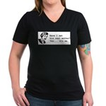 His Real Mother Women's V-Neck Dark T-Shirt