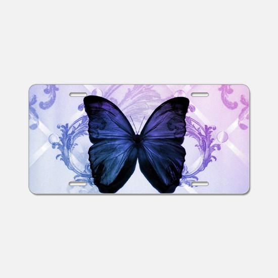 cute hipster girly butterfl Aluminum License Plate