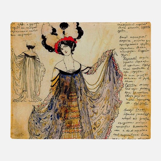 Leon Bakst Notes for a costume Throw Blanket