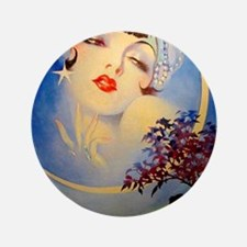 Henry Clive Woman in the Moon, Art Deco Button