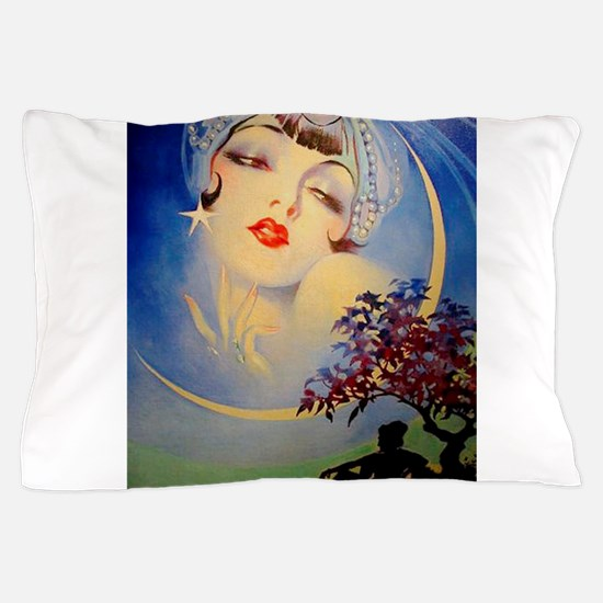 Henry Clive Woman in the Moon, Art Deco Pillow Cas