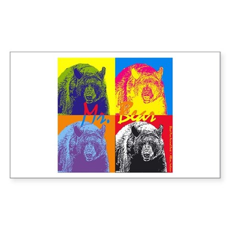 Mr. Bear - Warhol Rectangle Sticker