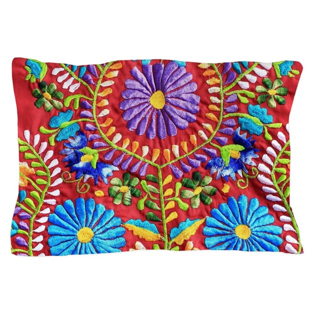 Mexican embroidery pillow case by listing store 6582520 Mexican embroidered bedding