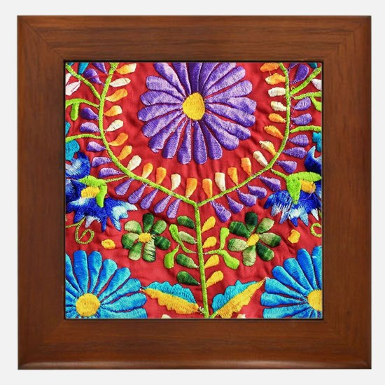 Mexican Embroidery Framed Tile