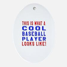 Baseball Player Looks Like Oval Ornament