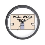 WILL WORK FOR BEER Wall Clock