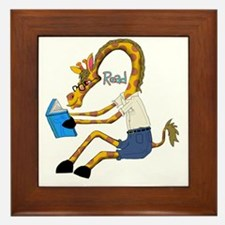 reading Giraffe Framed Tile