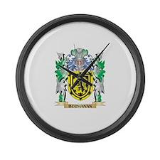 Buchanan Coat of Arms - Family Cr Large Wall Clock