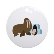 Walrus & Penguin Round Ornament