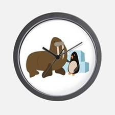 Walrus & Penguin Wall Clock