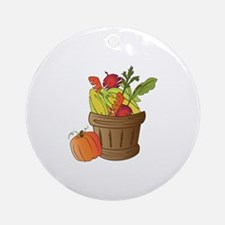 Fall Basket Round Ornament