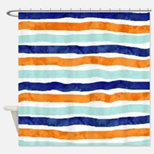 Orange And Navy Shower Curtains | Orange And Navy Fabric Shower ...