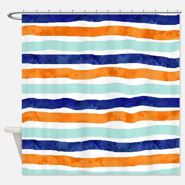 Orange And Blue Stripes Shower Curtains Orange And Blue Stripes
