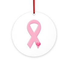 Pink Ribbon & Heart Ornament (Round)