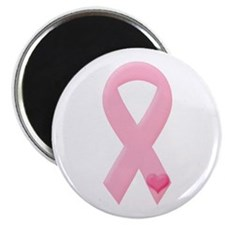 """Pink Ribbon & Heart 2.25"""" Magnet (100 pack)"""