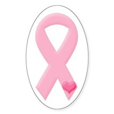 Pink Ribbon & Heart Oval Decal