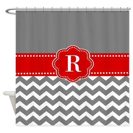 Charming Red And Grey Chevron Shower Curtains Red And Grey Chevron Fabric