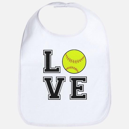 Love Softball Bib