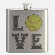 Love Softball Flask