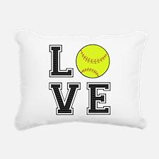 Love Softball Rectangular Canvas Pillow